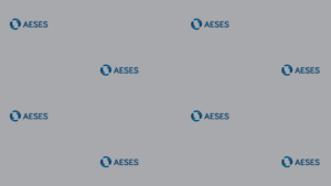 AESES logo multiple times on light grey background